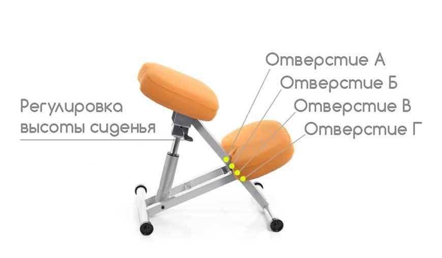 Регулировка коленного стула Smartstool KM01L