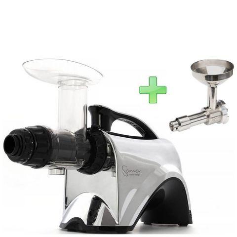 Шнековая соковыжималка Sana Juicer EUJ-606 хром + насадка-маслопресс Sana Oil Extractor EUJ-702