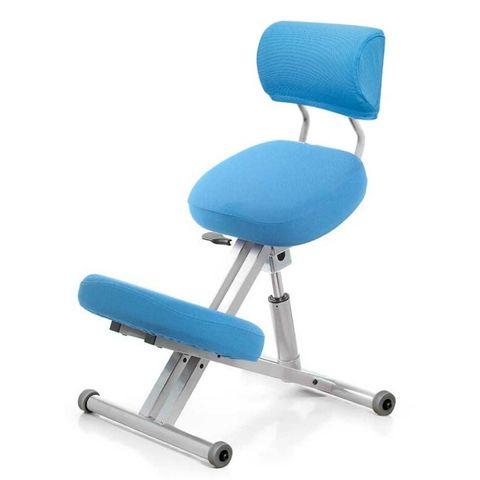 Стул коленный Smartstool KM01B (спинка + газлифт) голубой