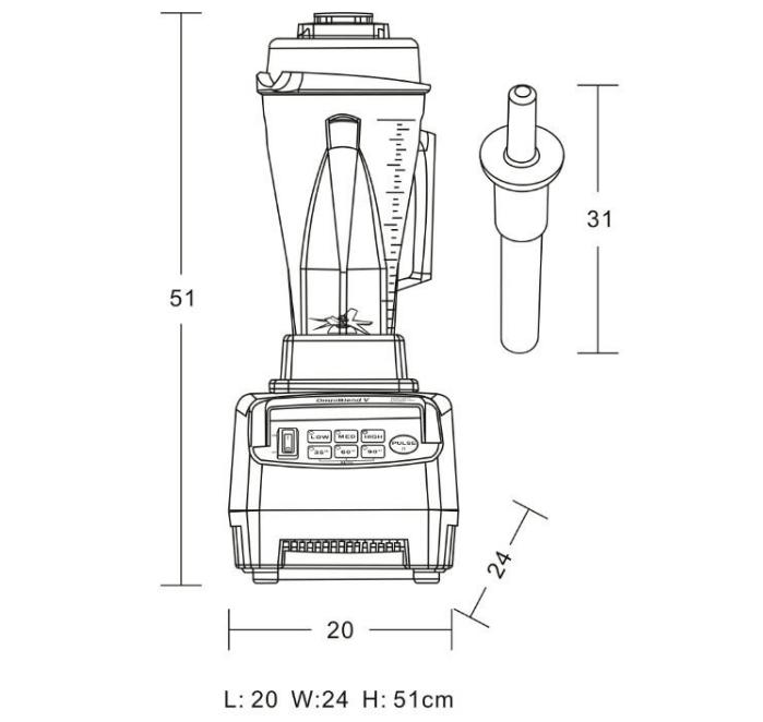 Габаритные размеры блендера JTC OmniBlend V TM-800