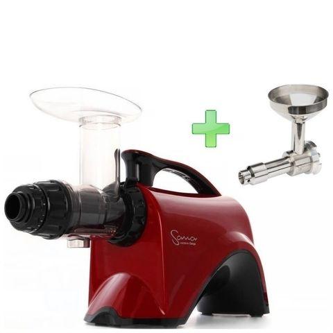 Шнековая соковыжималка Sana Juicer EUJ-606 красная + насадка-маслопресс Sana Oil Extractor EUJ-702