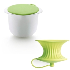 Форма для приготовления творога бело-салатовая