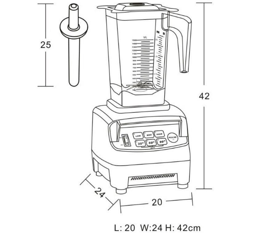 Габаритные размеры блендера JTC OmniBlend V TM-800A