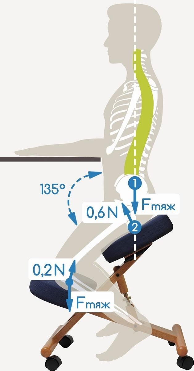 Принцип действия коленного стула Smartstool KM01B