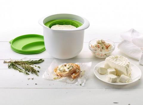 Творожница Lekue (форма для приготовления домашнего творога и сыра), 1 литр бело-салатовая