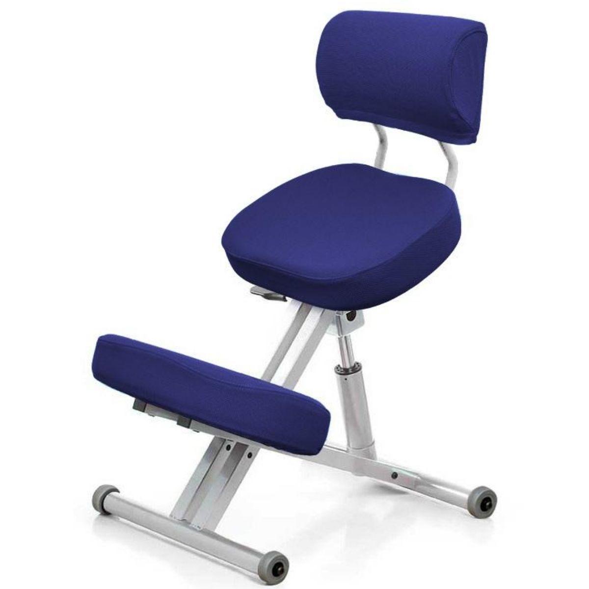 Стул коленный Smartstool KM01B (спинка + газлифт) индиго