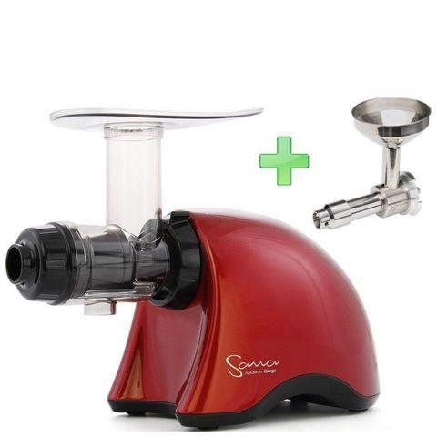 Шнековая соковыжималка Sana Juicer EUJ-707 красная + насадка-маслопресс Sana Oil Extractor EUJ-702