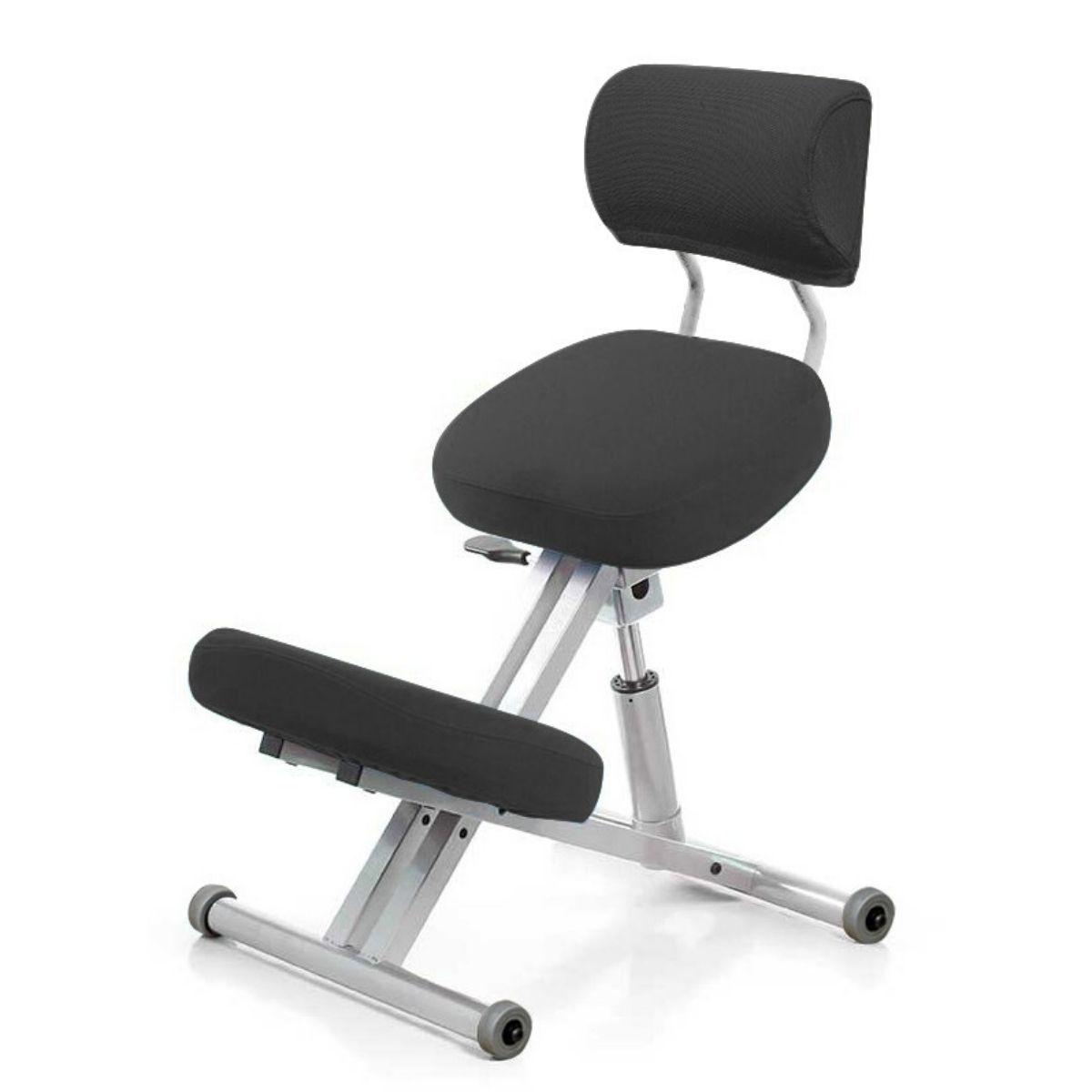 Стул коленный Smartstool KM01B (спинка + газлифт) черный
