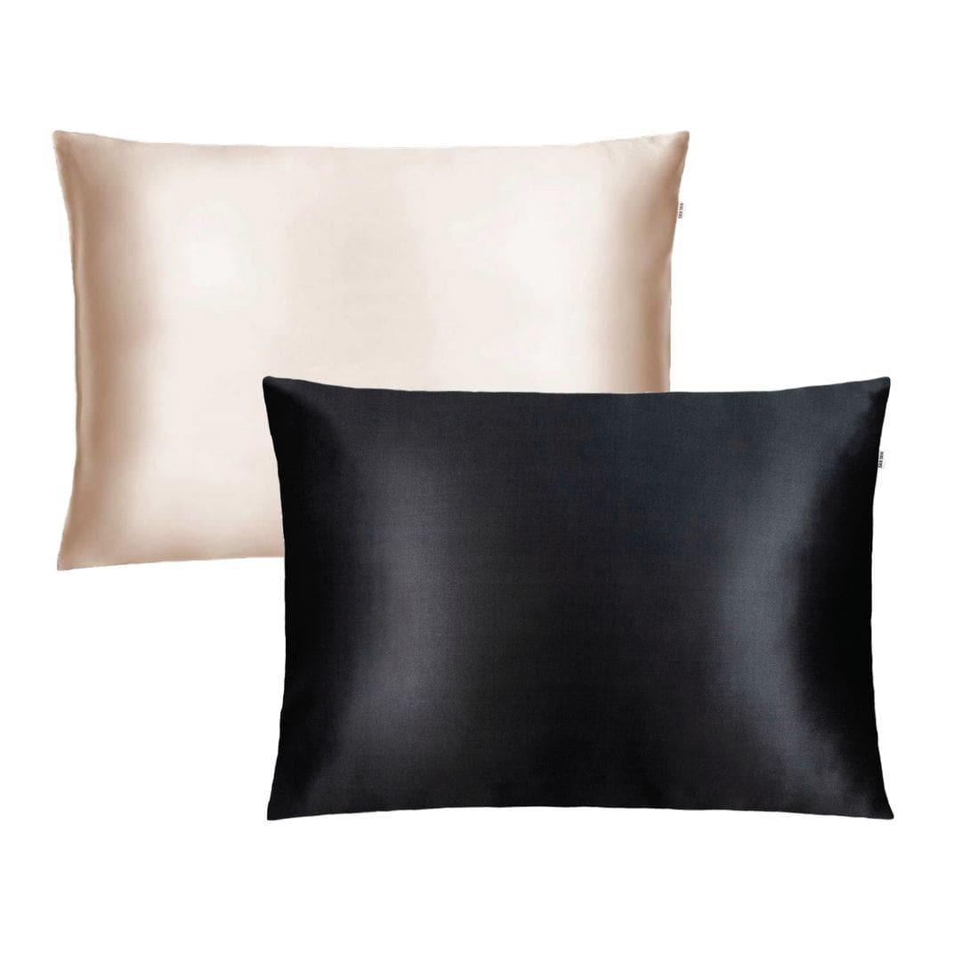 Набор шелковых наволочек Silk Silk карамель/черный