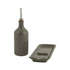 Подарочный набор Emile Henry: Бутылка для масла и подставка под ложку кремний