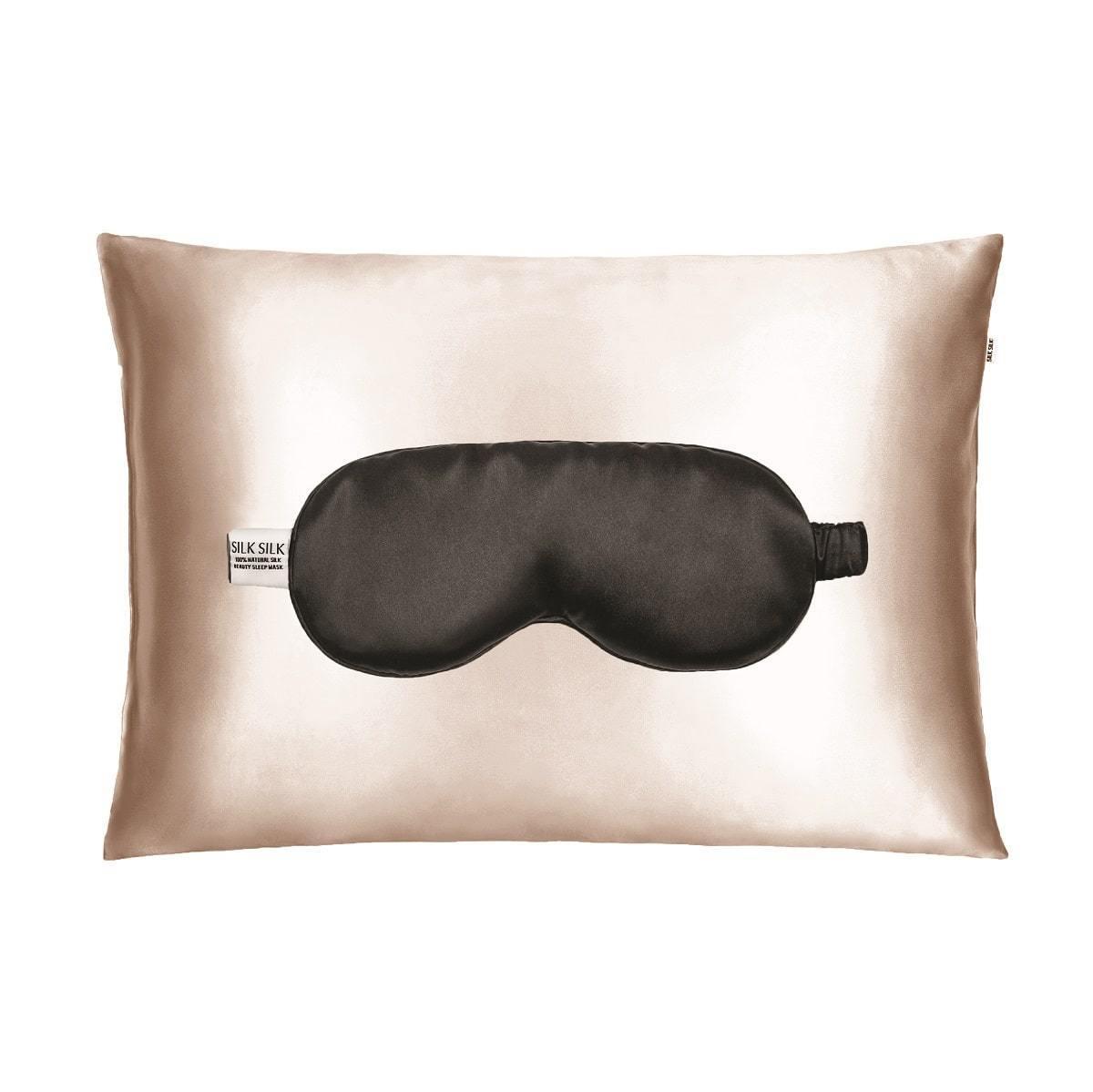 Набор для сна Silk Silk карамель/черный (наволочка + маска)